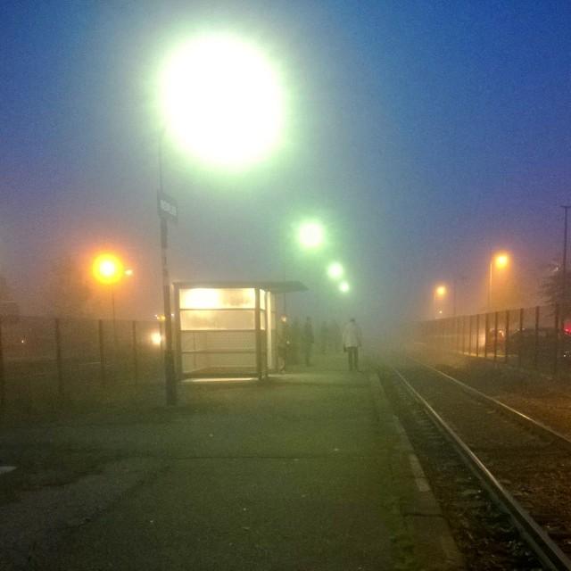 [Instagram] Ce matin, sur le quai de la gare, le brouillard attends avec nous.